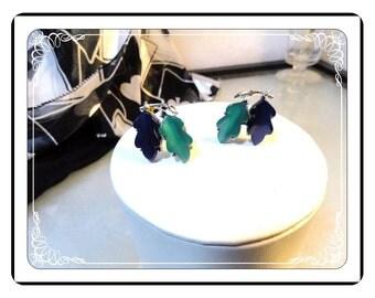 Lucite Signed Lisner Earrings - Vintage Green & Blue Lucite Leaf  - E584a-090913000