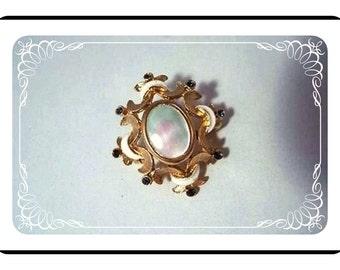 Cloud Nine Brooch - Vintage Darling Enameled Pearlized Pin-1320a-040510000