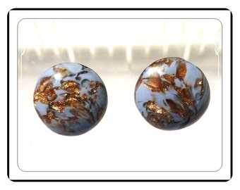 Lovely Art Glass Earrings Made in Italy and Signed Clip ons - E413a-090913000