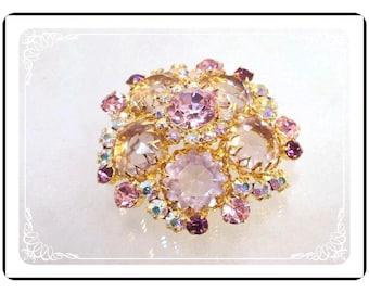Vintage Shades of Pink Brooch  Aurora Borealis  D&E Juliana   Pin-467-052213025