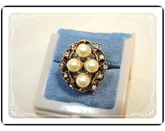 Faux Pearl / Rhinestone  Ring  - Vintage Chunky - Size  8  Adjustable  - R2029a-122512000