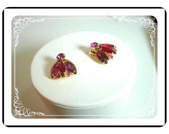 Shades of Pink Earrings - Vintage Clip on Earrings - Bright Pastel Red Amethyst Pinks    E137a-040812000