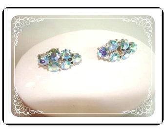 Coro Clip-on Earrings - Vintage Aurora Borealis     E177a-04081200
