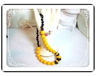 Lucite Necklace - POP ART Yellow Jacket Black & Striped     1183a-042412000