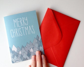 SALE / Forest Merry Christmas card / shimmery pearl card / feative card / blank Greeting card with red envelope / Luxury greetig card