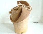 1930's Style Tan Saucer Fascinator Hat- Handmade For Women