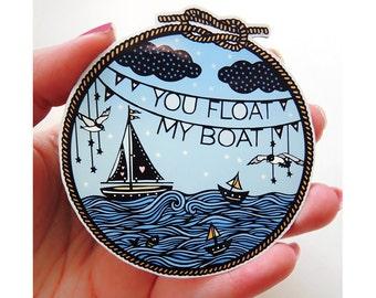 Magnet - Float My Boat - Papercut Illustration Fridge Magnet