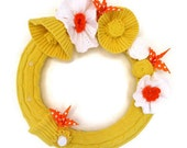 Yellow Kitchen Wreath Sunny and Bright Cotton Knit Wreath with Orange Origami Birds