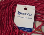 11/0, Preciosa Seed Beads, Opaque Ruby, #93210 - 1/2 & Full (12 Strand) Hanks are Available from the 'Select an Option' menu