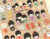 Kokeshi Doll Stickers - Paper Doll Stickers - Korean Stationery - 1 sheet