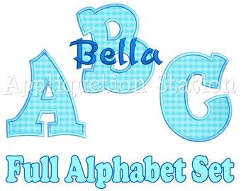 Full Bubble Alphabet Set Applique Machine Embroidery Design boy or girl INSTANT DOWNLOAD