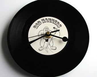 """BAD MANNERS Vinyl Record CLOCK, made from a recycled 7"""" single, Fun gift, for Ska Fans, black and white"""