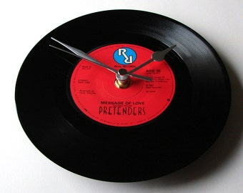 "THE PRETENDERS, Vinyl Record,  Wall Clock, ""Message Of Love"", made from a recycled 7"" single, fun gift, for wife, husband, boyfriend, etc"