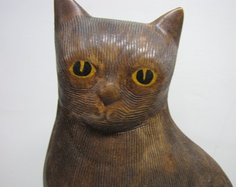 Vintage Statue of a Brown Cat with Yellow Eyes