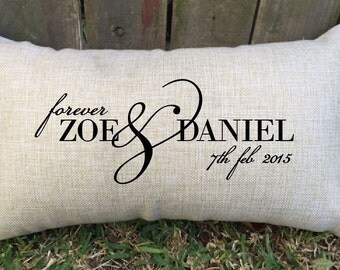 Names, forever and date couple pillow, perfect for bridal shower, anniversary gift, wedding or engagement gift for that special someone