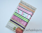 Pink Navy Green Hair Clip - Baby Girl Everyday Clip Set - Pink, Navy & Green Stripes and Cherries Simple Clips -  Toddler Clips - EC1526