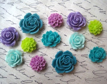 Resin Flowers, 12 pcs, Cabochon Flowers, Purple, Lime Green, Turquoise, Resin Roses, Dahlias, Sakura, Perfect for DIY Jewelry Projects