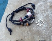 Leather Beaded and Charm Bracelet or Anklet!
