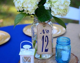 "20 TABLE NUMBERS - Burlap Wedding Centerpieces - Custom Embroidered 3"" x 4.5"" - As seen in Martha Stewart Weddings!"