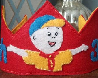 Caillou Themed Personalized Birthday Crown