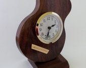 Solid Black Walnut Acoustic Guitar with Bridge Desk Clock  FREE DOMESTIC SHIPPING