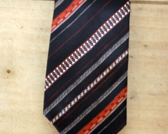 vintage brown rust and white striped tie