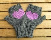 grey heart mittens fingerless mittens grey mittens purple mittens grey and purple christmas gift winter fashion