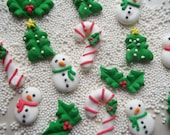 Snowmen, holly, candy canes and Christmas trees -- Handmade x-mas cake decorations cupcake toppers (12 pieces)