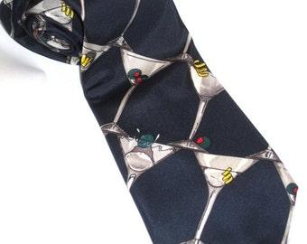 SILK Martini With a Twist Olive Straight Up On Navy Necktie Neck Tie