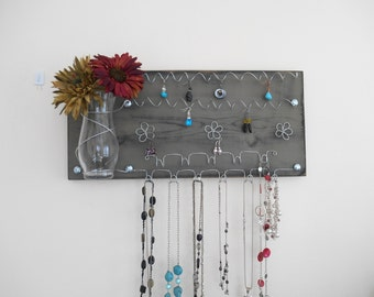 SALE Jewelry Board Hair Bow Organizer, Earring and Necklace Holder with Glass Vase, Green - IN STOCK