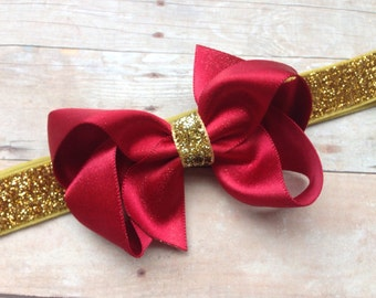Red gold bow headband - red baby headband, red & gold headband, gold headband, baby headband, newborn headband, Christmas headband