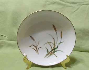 September Song by Sango Japan soup bowl gold rim cattails