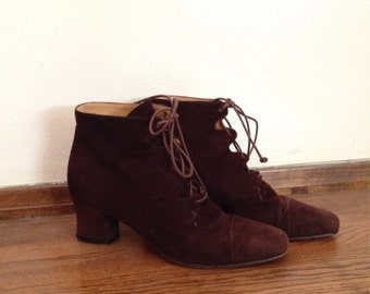 SALE Vintage 90's chocolate brown lace up suede granny booties size 36 / sz 6