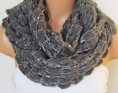 On Sale Gray Loop  Scarf, Neckwarmer Circle Scarf,Cowl, Winter Accessories, Fall Fashion,Holiday Accossories,Chunky Scarf.