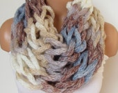 On Sale Brown Blue Cream Loop Scarf,Neckwarmer Circle Scarf,Cowl, Winter Accessories, Fall Fashion,Holiday Accossories,Chunky Scarf.