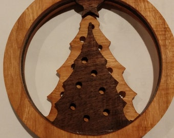 Carved Christmas Tree Ornaments - Cherry and Walnut