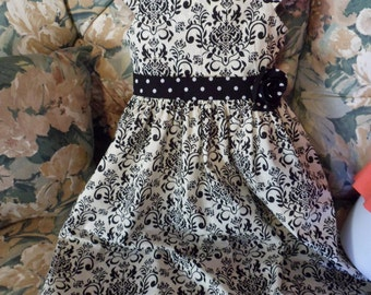 Girls black damask/dots dress MADE TO ORDER