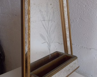 Mid Century Hollywood Regency Gold Mirror with storage