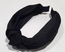 Raw silk turban knot headband -Black Headband-Black Hair Accessory-Handmade in USA-40s style Headdress-100% silk headpiece.