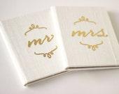 Wedding Vow Book Pocket Sized Set - Mr and Mrs Silk Folio Keepsake - Gold Foil Wedding Vow Holder