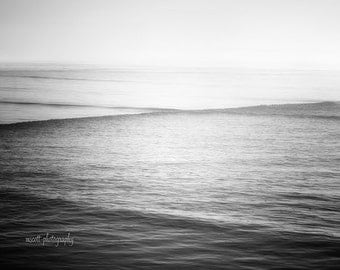 Dreamy Ocean Photography  Monochromatic Minimalist Art Print  Black & White Romantic Seascape  11x14  Zen Wall Decor  Moody Office Wall Art
