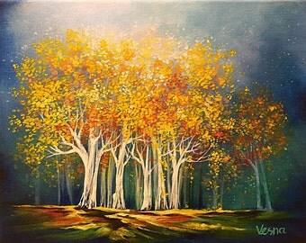 "Birthday Trees - Acrylics on 8""x10"" Canvas"