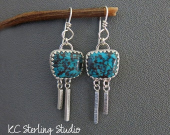 Blue turquoise and sterling silver dangle earrings