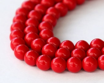 Faux Turquoise Beads, Red, 6mm Round - 15 inch Strand - eGR-IT007-6