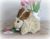 vintage bunny toy stuffed spring rabbit distressed shabby chic adorable bunny by herminas cottage