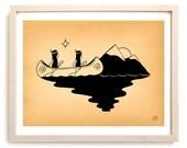 "Native American Art Print ""Moonlight Glide"""