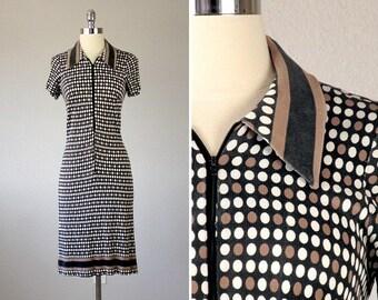 Vintage 1960s Dress, Polo Dress, 1960s Dress Mod, Polka Dot Dress, 1960s Mod Dress, Tennis Dress, Fitted Dress, Extra Small