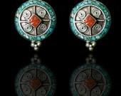 Tibetan earrings, Nepal earrings, ethnic jewelry,  coral, turquoise