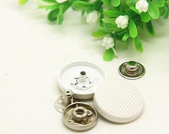 6 pcs 0.79 inch White Ripples Snap Fastener Metal Shank Buttons for Jeans Jackets