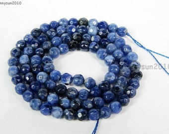 Natural Sodalite Gemstones 4mm Faceted Round Spacer Loose Beads 15'' Strand for Jewelry Making Crafts